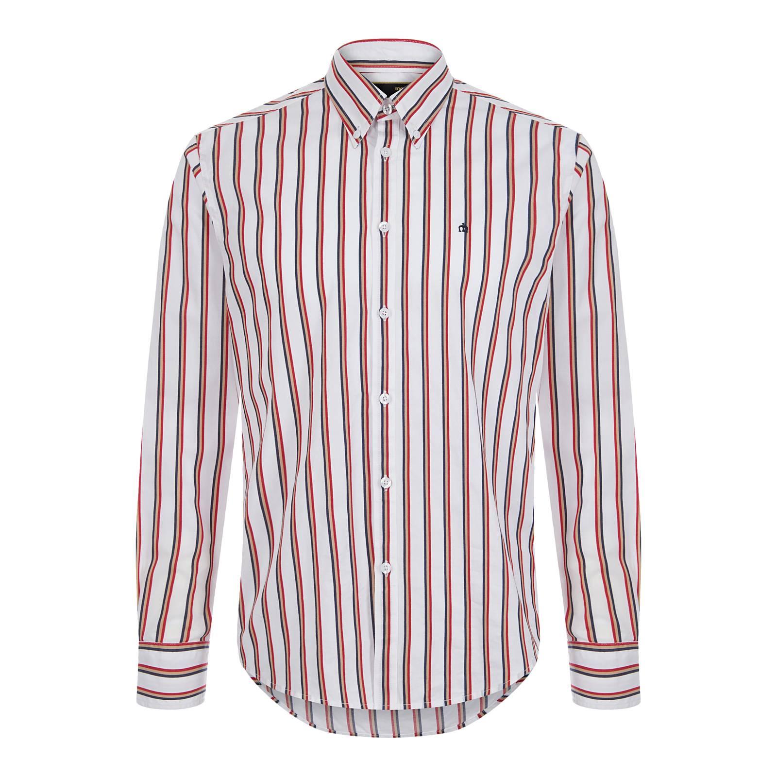 Рубашка ElstedButton Down<br>Долгожданное возвращение в линейку бренда рубашек в полоску ознаменовано этой превосходной button-down моделью приталенного покроя, пошитой из высококачественной хлопкового материала, – легкой и в то же время прочной, приятной на ощупь и долговечной ткани. Красивый трехцветный ретро узор подчеркивает связь этой сорочки со стилем британских модернистов эпохи Swinging Sixties. Полоска снова в тренде, набирая популярность от сезона к сезону. Данная модель является одновременно парадной и классической: она удачно впишется в деловой smart casual дресс-код вместе с костюмом, кэжуальным блейзером, базовым пуловером или классическим кардиганом на пуговицах и в то же время отличного подойдет для яркого клубного образа. Приверженцы исконного стиля, несомненно, оценят её сочетание с фиштейл паркой, Харрингтоном и обувью челси. Фирменная идентичность выражена культовым лейблом Корона, вышитым на груди.<br><br>Артикул: 1517103<br>Материал: 100% хлопок<br>Цвет: белый в трехцветную полоску<br>Пол: Мужской