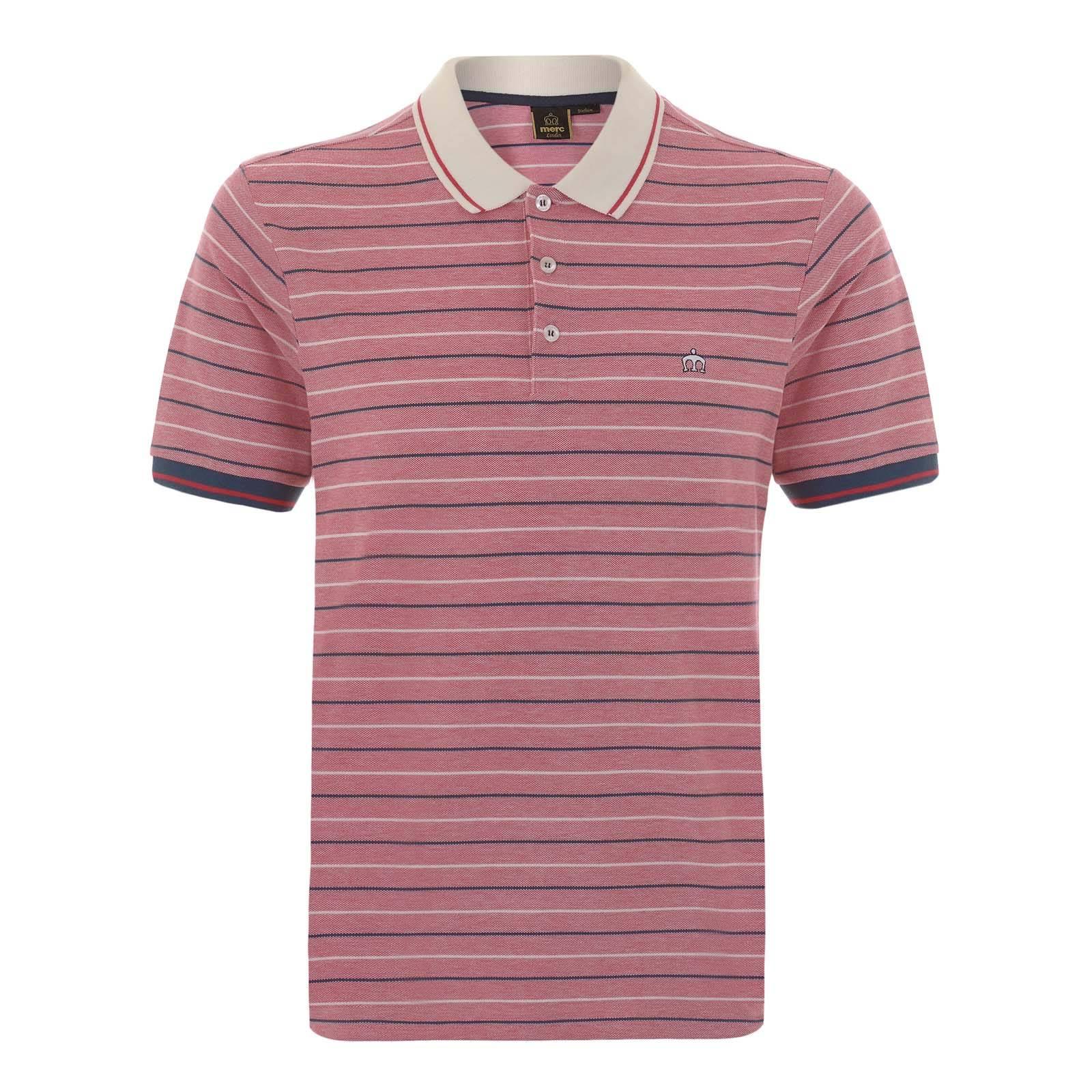 Рубашка Поло JensenПоло<br>Мужская рубашка поло, произведенная из текстурного хлопкового материала  пике  в тонкую двухцветную полоску. Контрастные манжеты и воротник композиционно объединяет однострочный красный кант, а вышитый слева на груди фирменный логотип Корона добавляет этой аутентичной ретро модели налёт современного casual аристократизма. Приятное глазу созвучие мягких цветов гармонично впишется в радостную атмосферу весеннее-летнего гардероба. Идеально сочетается с синими чиносами, рыжими или песочными Desert Boot и Харрингтоном. Также можно носить с шортами и классическими кроссовками.<br><br>Артикул: 1915107<br>Материал: 100% хлопок<br>Цвет: красновато-коричневый<br>Пол: Мужской
