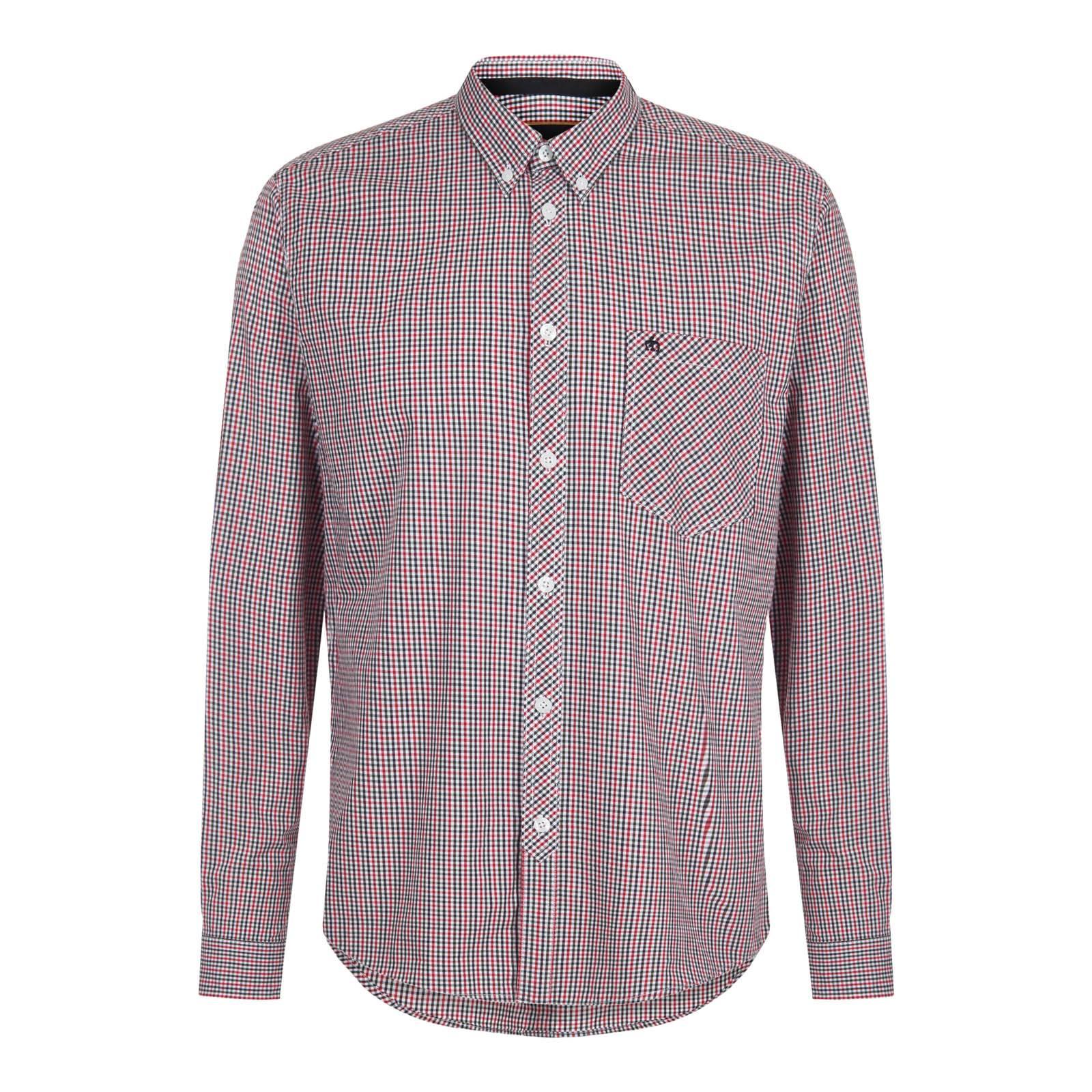 Рубашка SyndaleКлассические<br>Приталенного покроя мужская рубашка из высококачественной хлопковой ткани — мягкой, приятной на ощупь, прочной и долговечной. Исключительно актуальный в последние годы мелкий клетчатый узор представляет собой традиционный английский орнамент gingham.  Классический кэжуальный стиль, универсальное цветовое решение клетки на основе благородного сочетания черного, красного и белого цветов, а также практичный укороченный button-down воротник на пуговицах позволяют свободно комбинировать эту рубашку с большинством моделей брюк, трикотажа, верхней одежды и обуви. Благодаря удлиненной спинке не выправляется из брюк. Также носится и навыпуск. Брендирована фирменным логотипом Корона, вышитым контрастными нитями на нагрудном кармане.<br><br>Артикул: 1516211<br>Материал: 100% хлопок<br>Цвет: мультицветная клетка<br>Пол: Мужской