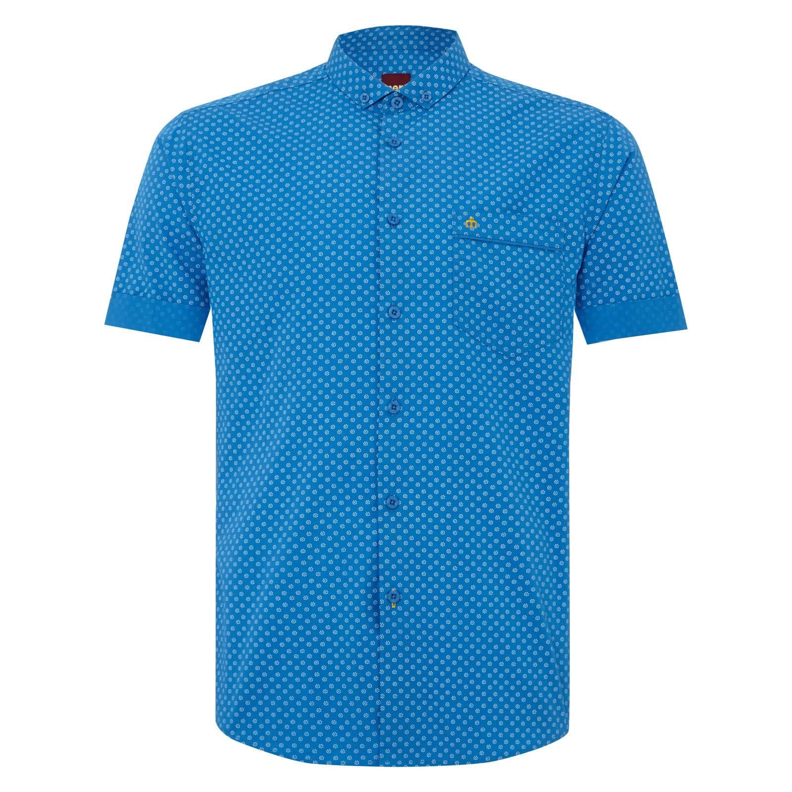 Рубашка ThorpeРубашки<br>Приталенная рубашка с аккуратным, укороченным воротником «баттен-даун» и легким, ненавязчивым цветочным принтом. Рукава рубашки подвернуты, немного заужены и не торчат в стороны, облегая руку.&amp;lt;br /&amp;gt;<br>&amp;lt;br /&amp;gt;<br>Нагрудный карман декорирован контрастным, вышитым желтыми нитями логотипом-корона и узкой однотонной синей накладкой, гармонирующей с отворотом рукавов. &amp;lt;br /&amp;gt;<br>&amp;lt;br /&amp;gt;<br>Яркие, летние цвета и фигурный низ изделия позволяют носить эту рубашку навыпуск, комбинируя со светлыми чиносами или шортами.<br><br>Артикул: 1514109<br>Материал: 100% хлопок<br>Цвет: синий<br>Пол: Мужской