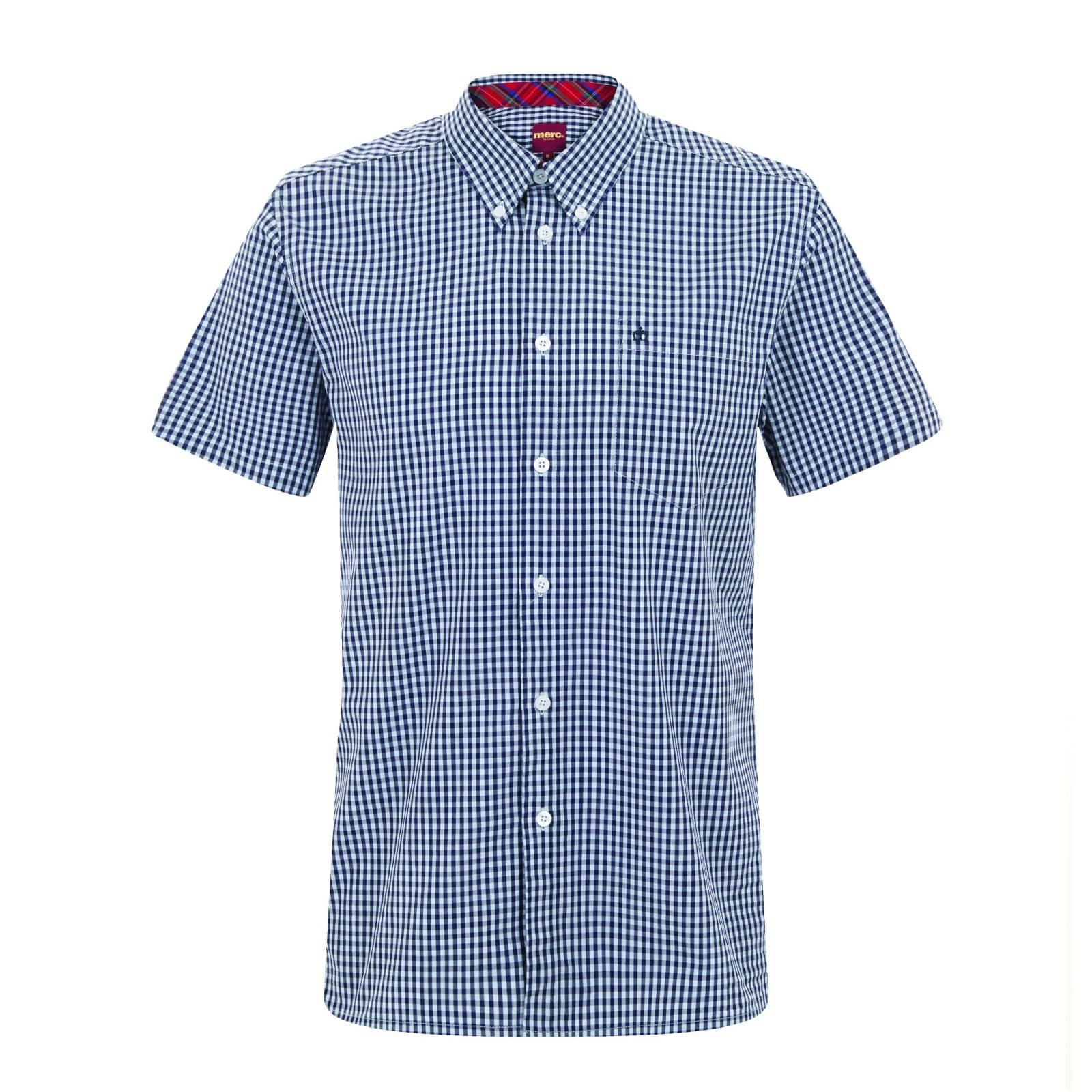 Рубашка TerryКлассические<br>Эта классическая, приталенная рубашка всесезонной базовой линии CORE производится почти в неизменном виде на протяжении десятилетий, символизируя верность Merc своему полувековому наследию и исконному casual стилю. Традиционная мелкая двухцветная английская клетка прекрасно сочетается с большинством легких курток, тренчей и парок. Визитная карточка рубашек Merc - воротник &amp;amp;quot;button-down&amp;amp;quot; на пуговицах - делает ее идеальной для комбинации с V-neck свитерами, жилетами и кардиганами. Прямой низ позволяет с комфортом заправлять эту рубашку в брюки, джинсы или шорты, хотя ее можно носить и на выпуск: под курткой, блейзером или саму по себе.<br><br>Артикул: 1570108<br>Материал: None<br>Цвет: сине-голубая клетка<br>Пол: Мужской