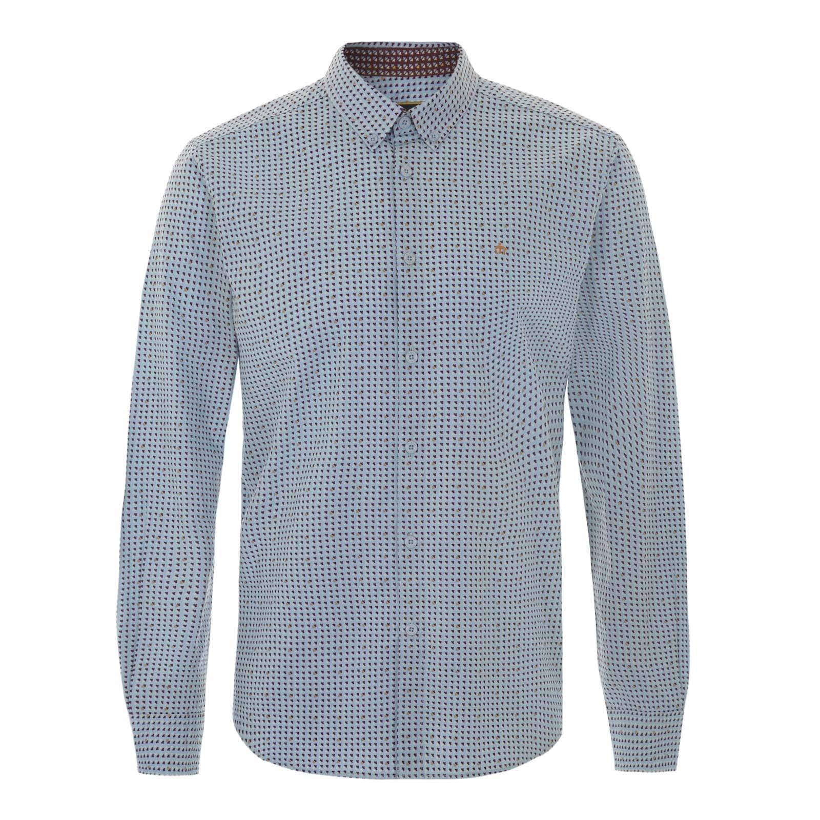Рубашка VeniceРубашки<br>Приталенного покроя мужская button down рубашка с воротником на пуговицах. Пошита из комфортной хлопковой ткани поплин приятного голубого оттенка с красивым геометрическим принтом в ретро стиле. Брендирована логотипом Корона, вышитым на груди слева. Легкое сочетание цветов гармонично впишет эту рубашку в летний гардероб, позволяя создавать красивые сочетания с чиносами, шортами, замшевыми лоферами и легкой паркой. В то же время может стать частью формального лука в комбинации с классической бувью Челси, брюками Sta-Prest, базовым кардиганом или прилегающим smart casual пиджаком.<br><br>Артикул: 1515103<br>Материал: 100% хлопок<br>Цвет: Гридеперлевый<br>Пол: Мужской