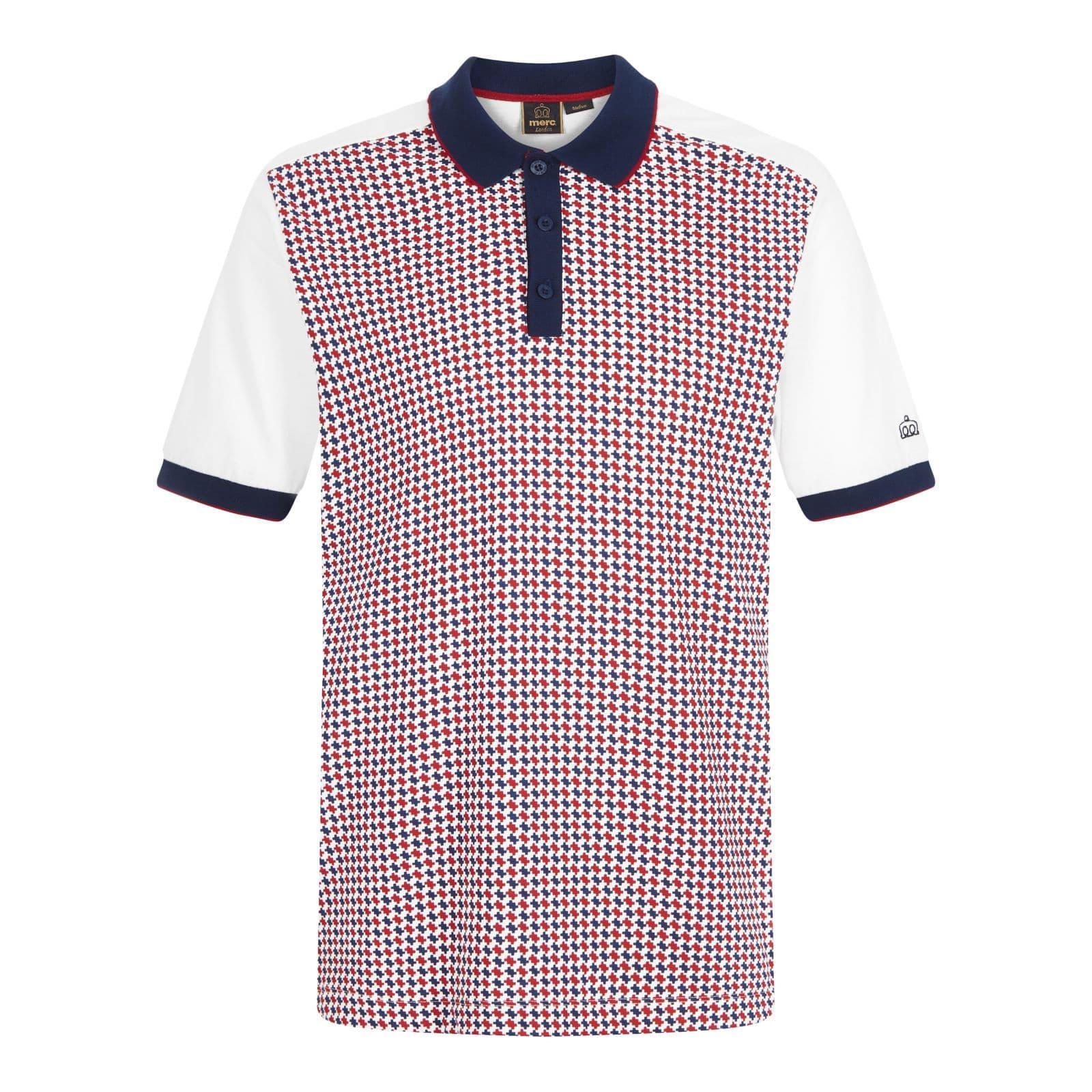Рубашка Поло ElvinПоло под заказ<br><br><br>Артикул: 1917111<br>Материал: 100% хлопок<br>Цвет: белый с красными и синими узорами<br>Пол: Мужской