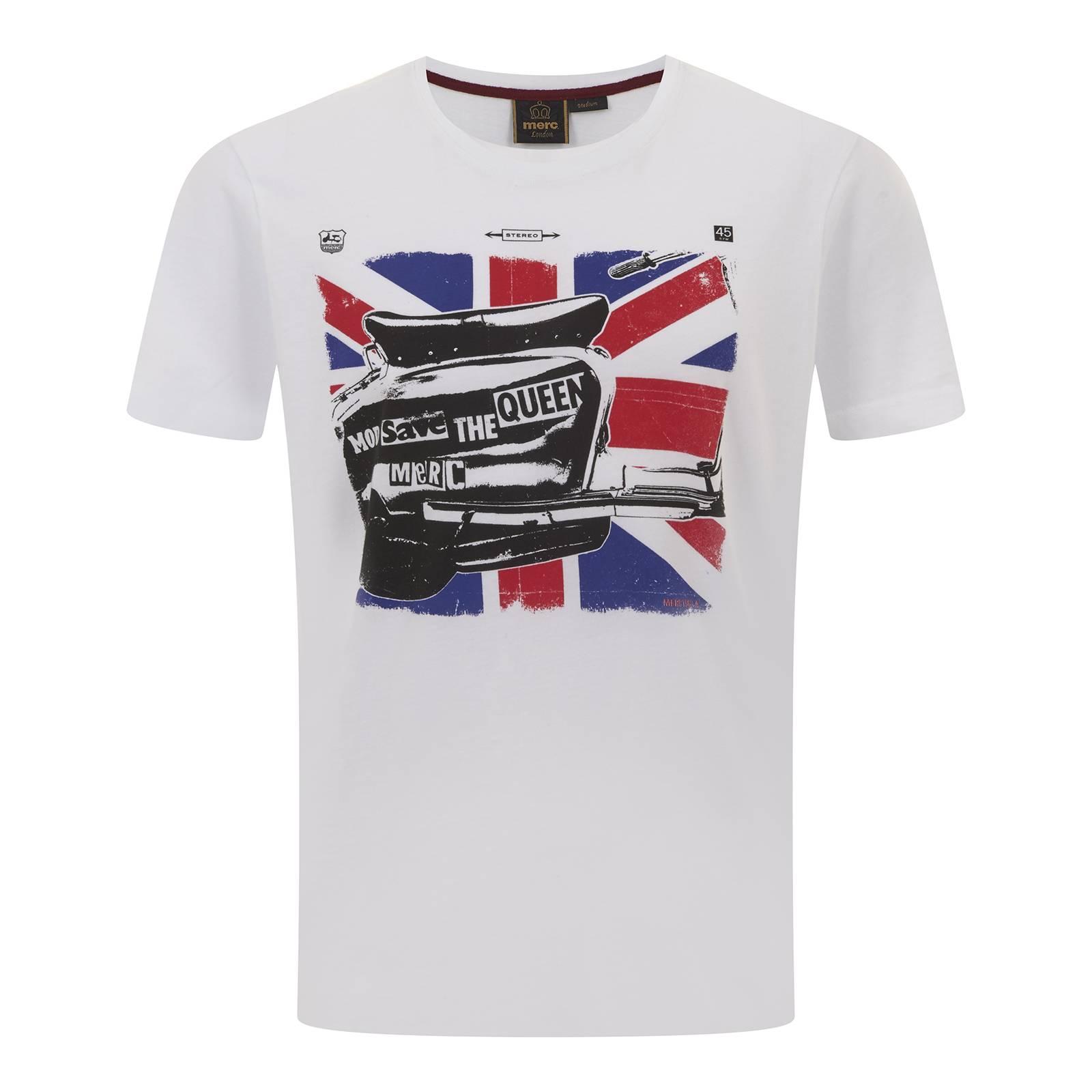 Футболка WennerФутболки<br>Классического покроя (Regular Fit) мужская футболка с коротким рукавом и круглым воротом, пошитая из высококачественной, легкой и мягкой хлопковой ткани Джерси. Украшена эффектным клипарт рисунком скутера на фоне Юнион Джека, выполненным по мотивам сингла легендарной английской панк-рок группы Sex Pistols «God Save the Queen». Дополнительный декоративный элемент – контрастная однополосная прострочка боковых швов от подмышек, красиво гармонирующая с красным цветом британского флага.<br><br>Артикул: 1716102<br>Материал: 100% хлопок<br>Цвет: белый<br>Пол: Мужской