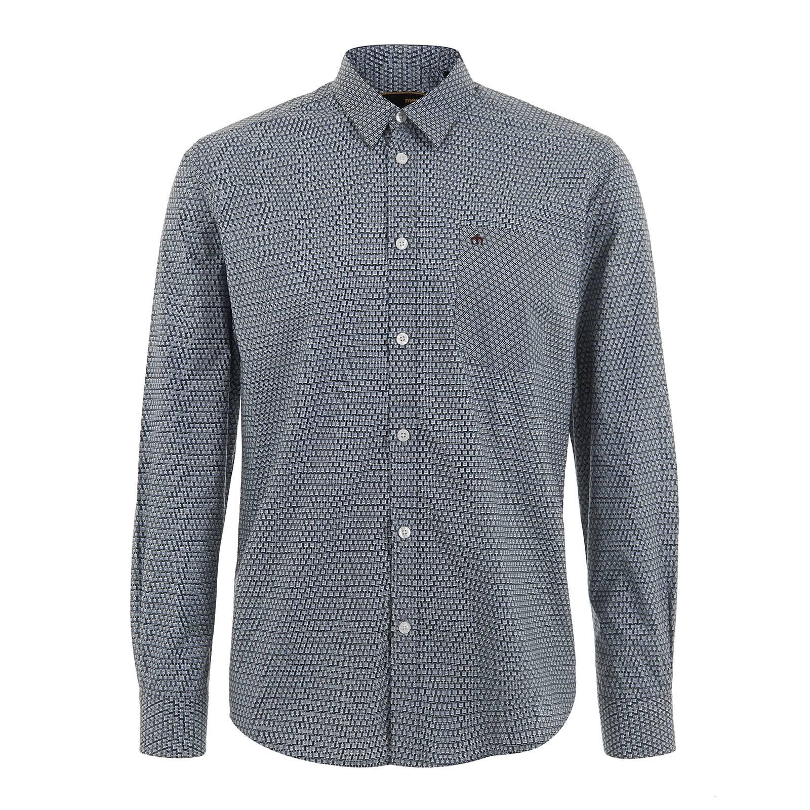 Рубашка DonahueРубашки<br>Приталенная мужская рубашка, пошитая из классической рубашечной ткани поплин с мелким геометрическим принтом в ретро стиле. Внутренний край фигурных манжет отделан контрастной полоской темно-синей ткани, проглядывающей сквозь скошенный угол манжеты в застегнутом виде. Этот декоративный элемент гармонирует с аналогичного цвета тоненькой вставкой на линии перегиба стойки воротника.  Классический воротник Кент хорошо подходит под тонкий галстук с небольшим узлом, а удлиненная спинка позволит комфортно заправлять эту рубашку в брюки или джинсы.  Её можно носить как с классическими брюками, костюмом, формальной обувью и строгим тренчем, так и с модным трикотажем, тертым денимом и кожанкой.  Брендирована фирменным логотипом Корона, вышитым на нагрудном кармане слева.<br><br>Артикул: 1515202<br>Материал: 100% хлопок<br>Цвет: ниагара<br>Пол: Мужской