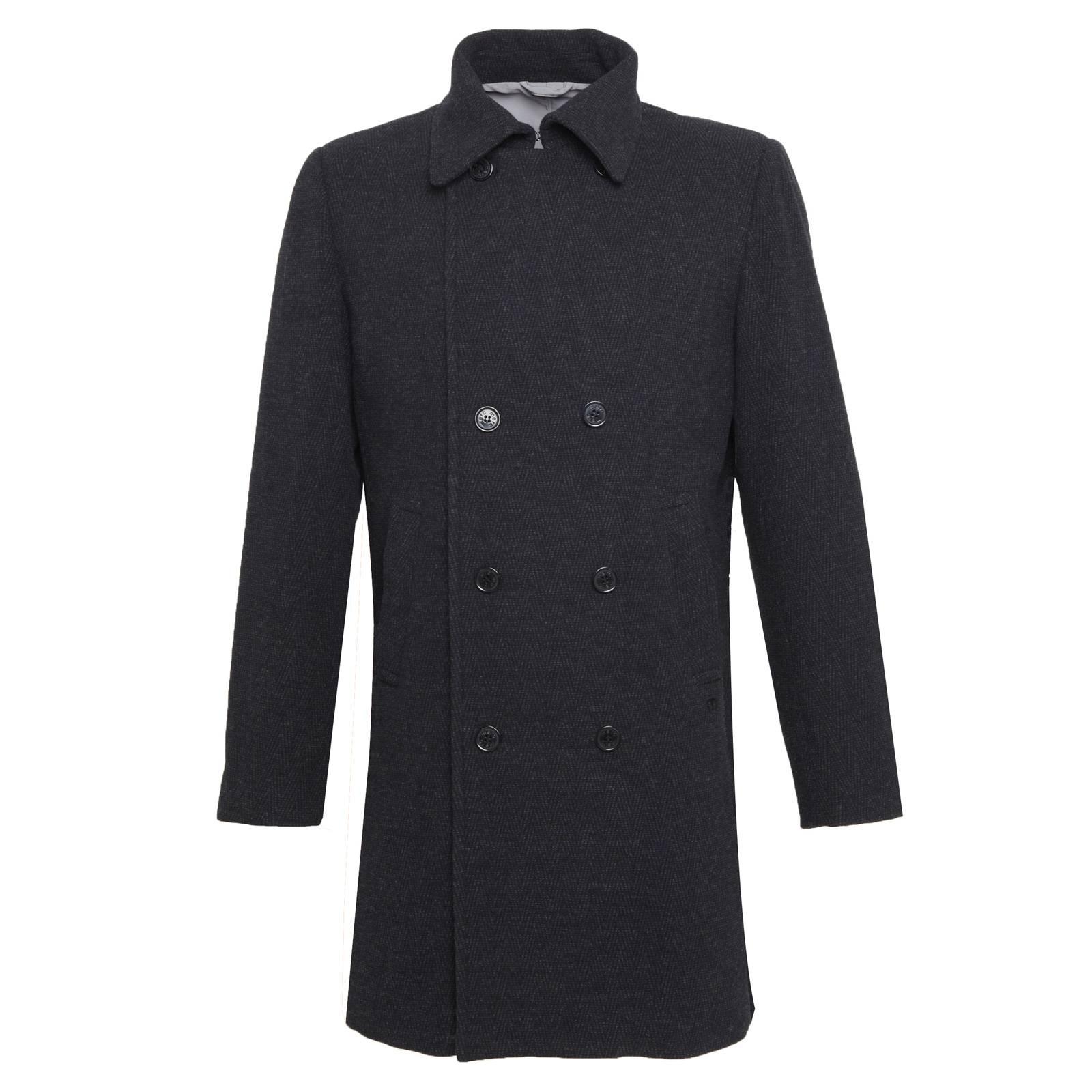 Пальто DalhamКуртки под заказ<br><br><br>Артикул: 1111208<br>Материал: 80% шерсть, 20% полиамид<br>Цвет: темно-серый<br>Пол: Мужской