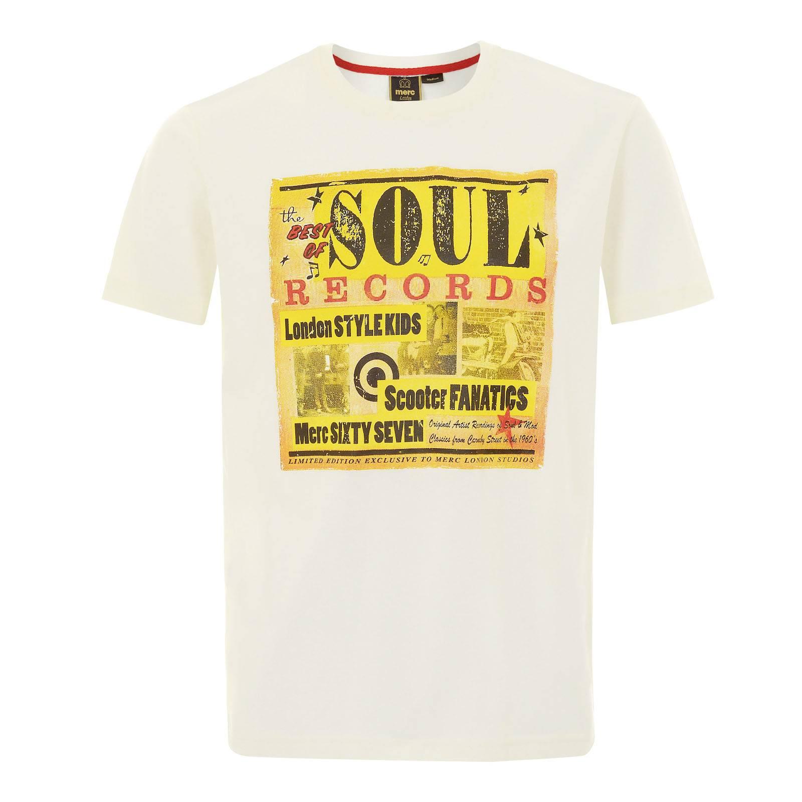 Футболка CaswellФутболки<br>Красивая мужская футболка из легкой хлопковой ткани с принтом винтажной обложки из-под винила с музыкой соул, популярной в среде британских модов эпохи Свингующих Шестидесятых. Отличный вариант для неформального летнего гардероба в паре с шортами и кроссовками.<br><br>Артикул: 1715109<br>Материал: 100% хлопок<br>Цвет: винтажный белый<br>Пол: Мужской