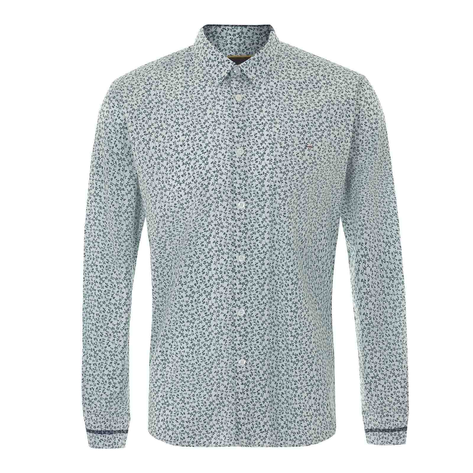 Рубашка NavarreРубашки<br>Мужская приталенная рубашка с традиционным для английского декора сплошным цветочным орнаментом, акцентирующим легкое настроение весеннее-летнего гардероба. Произведена из классической рубашечной ткани поплин. Украшена контрастными вставками на задней части воротника Кент и манжетах. Носится навыпуск, сочетаясь со светлыми чиносами и дезертами, а также шортами и лоферами на босу ногу.<br><br>Артикул: 1515104<br>Материал: 100% хлопок<br>Цвет: молочный<br>Пол: Мужской