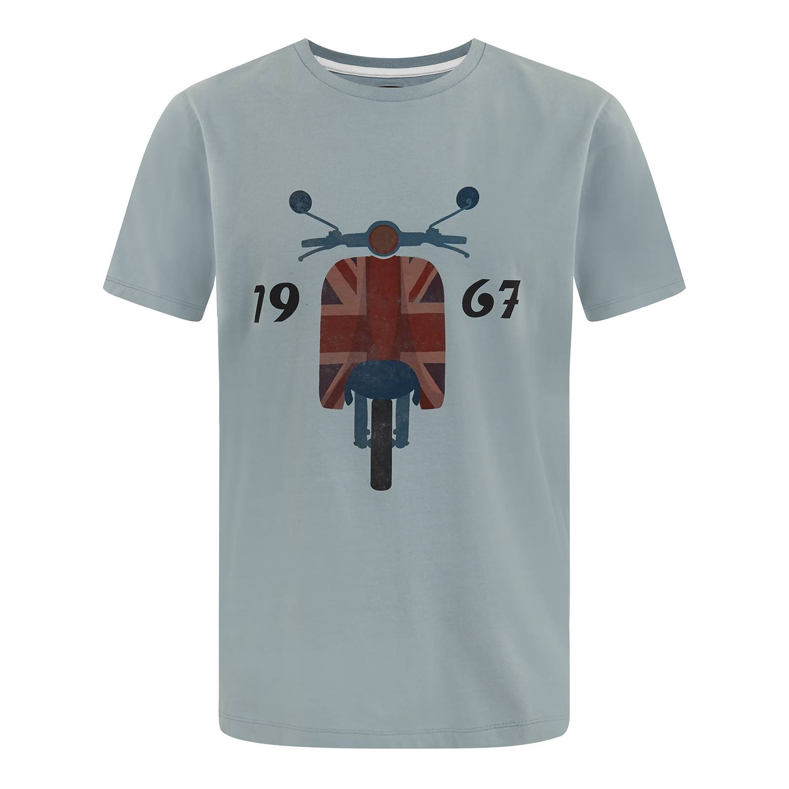Футболка LoxleyФутболки<br>Хлопковая мужская футболка с принтом в традиционной mod scooter эстетике. Ретро мотороллер с винтажным Юнион Джеком на переднем обтекателе символизирует связь бренда со стиляжной британской субкультурой Модов, зародившейся в Британии первой половины 60-х. 1967 - год основания марки.<br><br>Артикул: 1715205<br>Материал: 100% хлопок<br>Цвет: бирюзово-синий<br>Пол: Мужской