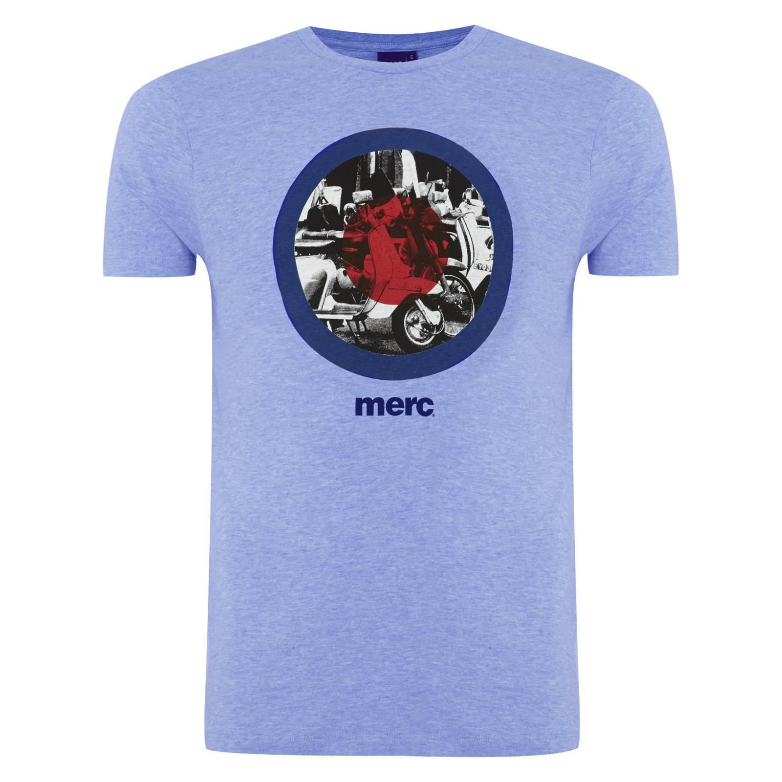 Футболка GranvilleCORE<br>Базовая, приталенная футболка с модовской символикой &amp;amp;quot;таргет&amp;amp;quot; и черно-белым изображением скутеров внутри мишени - яркий, заметный предмет гардероба в сочетании с олимпийкой и классическими кроссовками.&amp;lt;br /&amp;gt;<br>&amp;lt;br /&amp;gt;<br>Небольшой логотип Merc под принтом служит брендовой идентификацией знаменитого на весь мир орнамента.<br><br>Артикул: 1713118<br>Материал: 100% хлопок<br>Цвет: голубой<br>Пол: Мужской