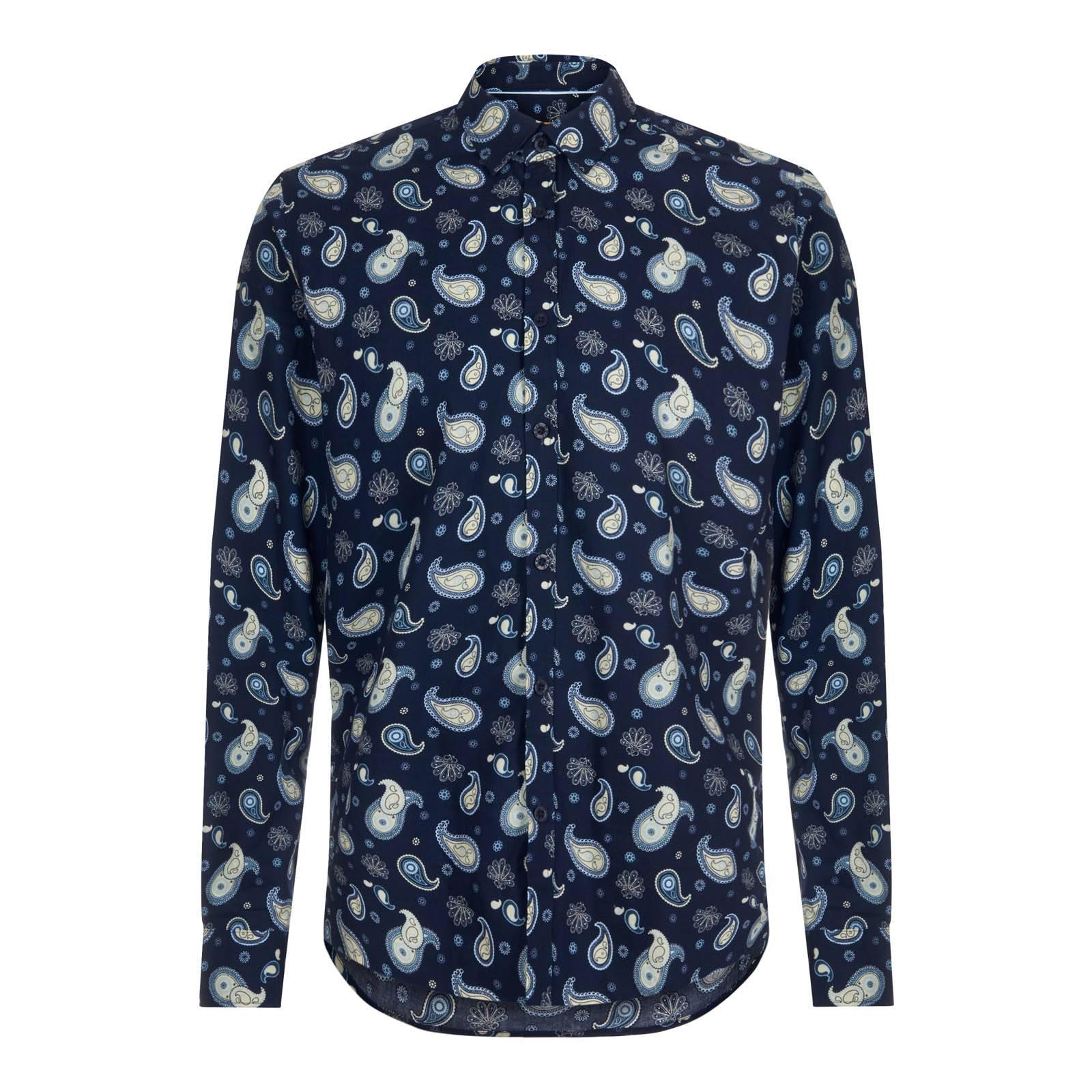 Рубашка KeanС длинным рукавом<br>Знаковая для бренда мужская рубашка с узором paisley — символом британской моды «Свингующих Шестидесятых» и наших дней. Изготовлена из высококачественной рубашечной ткани поплин ¬— шелковистой, приятной на ощупь и долговечной. Имеет укороченный воротник Кент и приталенный покрой. Крайне эффектное решение знаменитого орнамента на основе крупных, несоприкасающиеся друг с другом контрастных элементов, положенных на основу благородного синего цвета, выделяют эту модель среди прочих пейсли сорочек, произведенных брендом за последние годы. Благодаря удлиненной спинке надежно заправляется в брюки. Также носится и навыпуск с чиносами или темным денимом. Эта парадная модель отлично подойдет для выхода в свет в комплекте с smart casual пиджаком, лоферами или брогами, кромби, тренчем или макинтошем.<br><br>Артикул: 1512207<br>Материал: 100% хлопок<br>Цвет: синий<br>Пол: Мужской