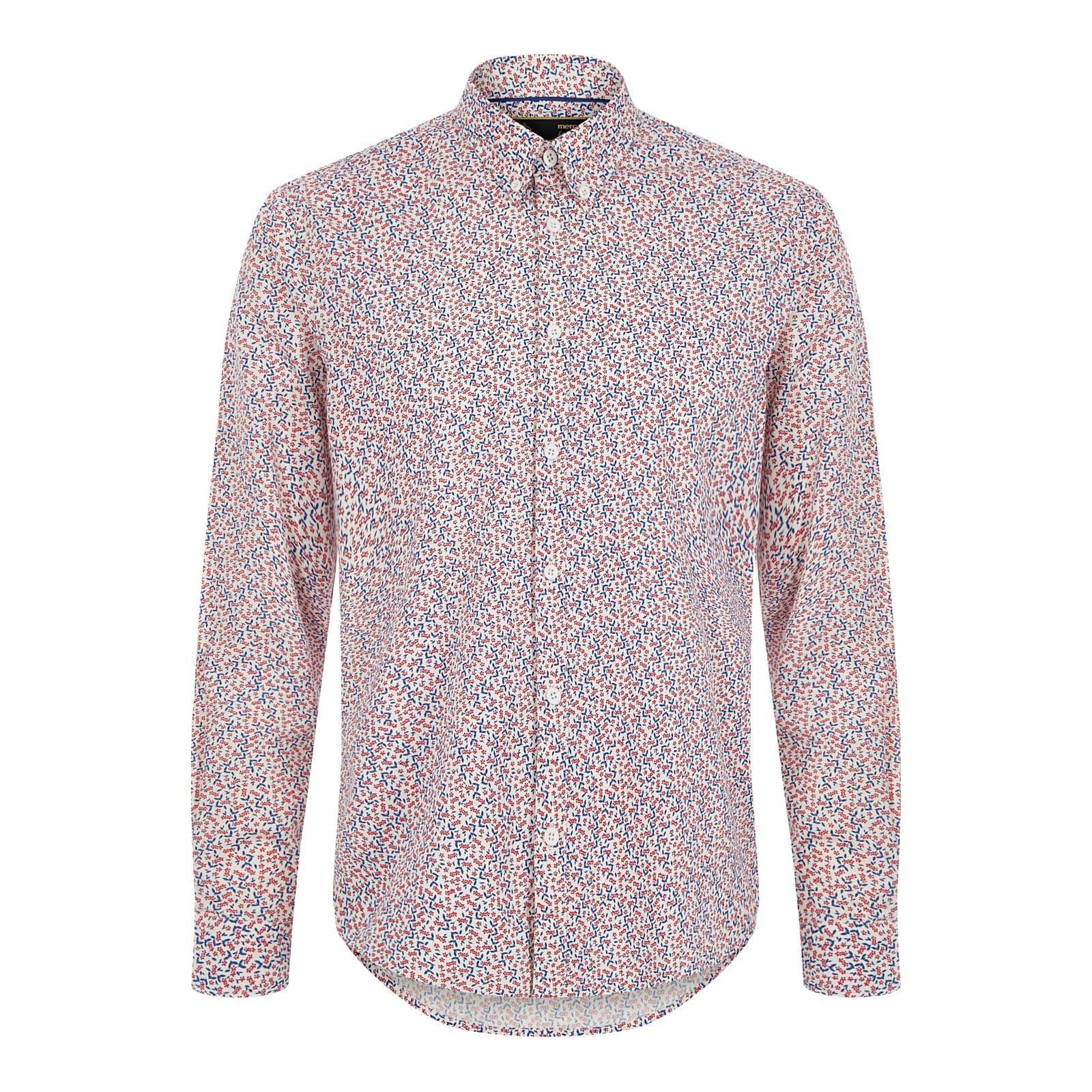 Рубашка DurhamРубашки под заказ<br><br><br>Артикул: 1517104<br>Материал: 100% хлопок<br>Цвет: белый с красными и синими узорами<br>Пол: Мужской