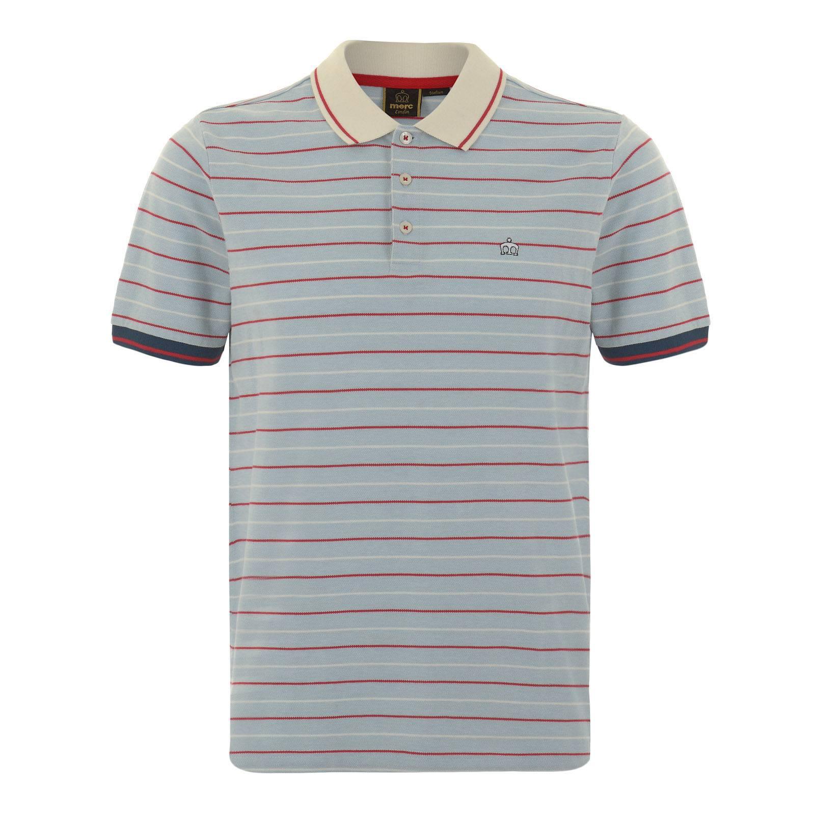 Рубашка Поло JensenКлассические<br>Мужская рубашка поло, произведенная из текстурного хлопкового материала «пике» в тонкую двухцветную полоску. Контрастные манжеты и воротник композиционно объединяет однострочный красный кант, а вышитый слева на груди фирменный логотип Корона добавляет этой аутентичной ретро модели налёт современного casual аристократизма. Приятное глазу созвучие мягких цветов гармонично впишется в радостную атмосферу весеннее-летнего гардероба. Идеально сочетается с синими чиносами, рыжими или песочными Desert Boot и Харрингтоном. Также можно носить с шортами и классическими кроссовками.<br><br>Артикул: 1915107<br>Материал: 100% хлопок<br>Цвет: голубой<br>Пол: Мужской