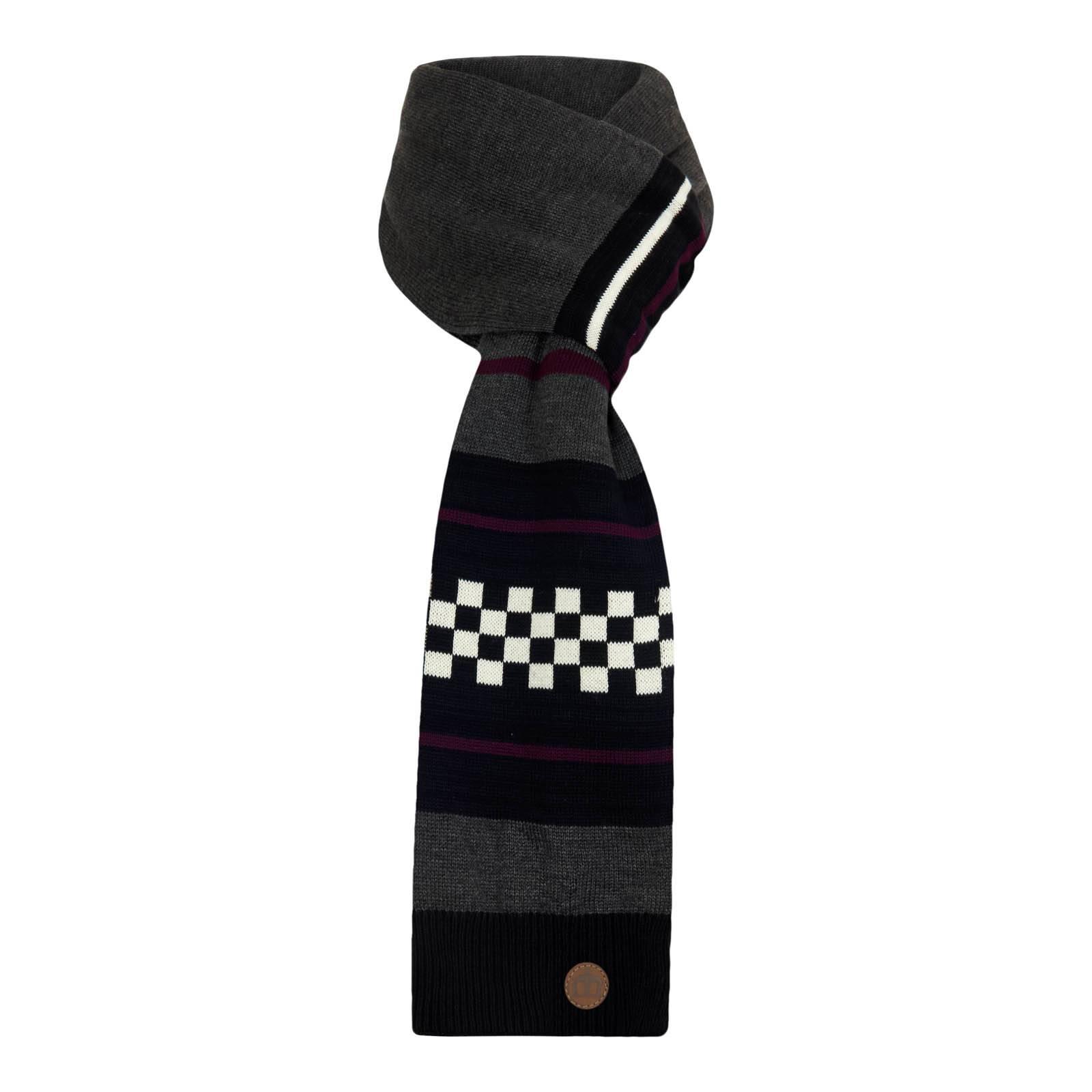 Шарф ClaxbyСлайдер на главной<br>Зимний шарф унисекс, произведенный из высококачественного комбинированного трикотажа – не раздражающей кожу ткани с хорошими теплоизоляционными свойствами.  Украшен в ретро стиле разноцветными поперечными полосами разного объема, красивым кожаным патчем с тиснением фирменного логотипа Корона, а также знаковым узором «шашечка», символизирующим связь бренда с субкультурой Ска. Этот шарф хорошо сочетается с черной паркой или синим дафлкотом, а также с множеством других моделей верхней одежды.<br><br>Артикул: 1016203<br>Материал: 50% хлопок, 50% акрил<br>Цвет: серый с черным<br>Пол: Унисекс