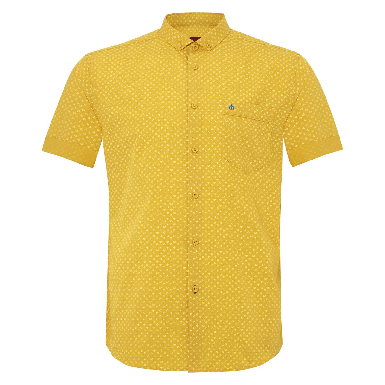 Рубашка ThorpeРубашки<br>Приталенная рубашка с аккуратным, укороченным воротником «баттен-даун» и легким, ненавязчивым цветочным принтом. Рукава рубашки подвернуты, немного заужены и не торчат в стороны, облегая руку.&amp;lt;br /&amp;gt;<br>&amp;lt;br /&amp;gt;<br>Нагрудный карман декорирован контрастным, вышитым желтыми нитями логотипом-корона и узкой однотонной синей накладкой, гармонирующей с отворотом рукавов. &amp;lt;br /&amp;gt;<br>&amp;lt;br /&amp;gt;<br>Яркие, летние цвета и фигурный низ изделия позволяют носить эту рубашку навыпуск, комбинируя со светлыми чиносами или шортами.<br><br>Артикул: 1514109<br>Материал: 100% хлопок<br>Цвет: желтый<br>Пол: Мужской