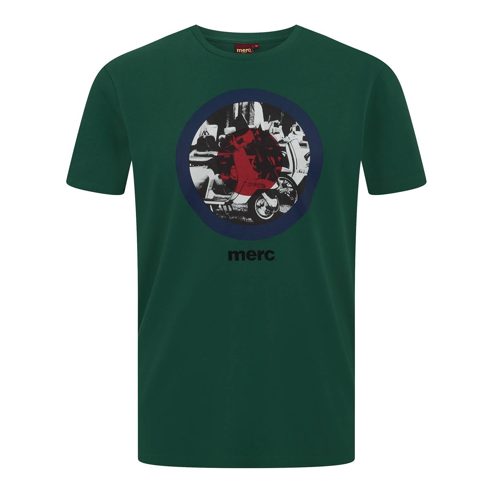Футболка GranvilleCORE<br>Базовая, приталенная футболка с модовской символикой таргет и черно-белым изображением скутеров внутри мишени - яркий, заметный предмет гардероба в сочетании с олимпийкой и классическими кроссовками. Небольшой логотип Merc под принтом служит брендовой идентификацией знаменитого на весь мир орнамента.<br><br>Артикул: 1713118<br>Материал: 100% хлопок<br>Цвет: зеленый<br>Пол: Мужской