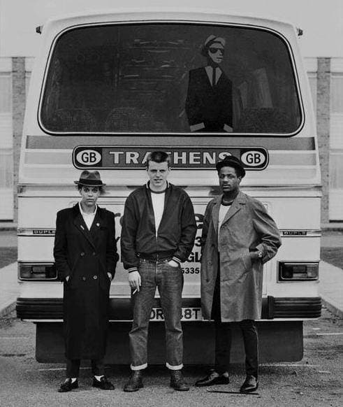 Pauline Black of The Selecter Suggs of Madness and Neville Staple of The Specials -tour bus  2 Tone Tour in Brighton 1979.jpg